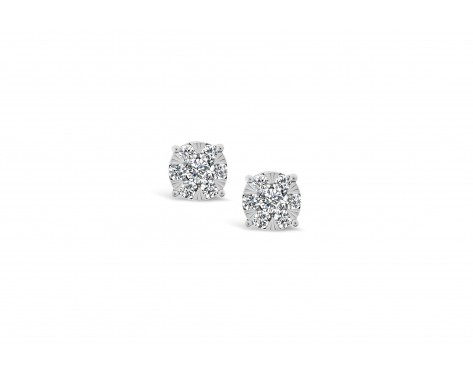 18k white gold illusion set stud earrings with round diamonds Photos & images