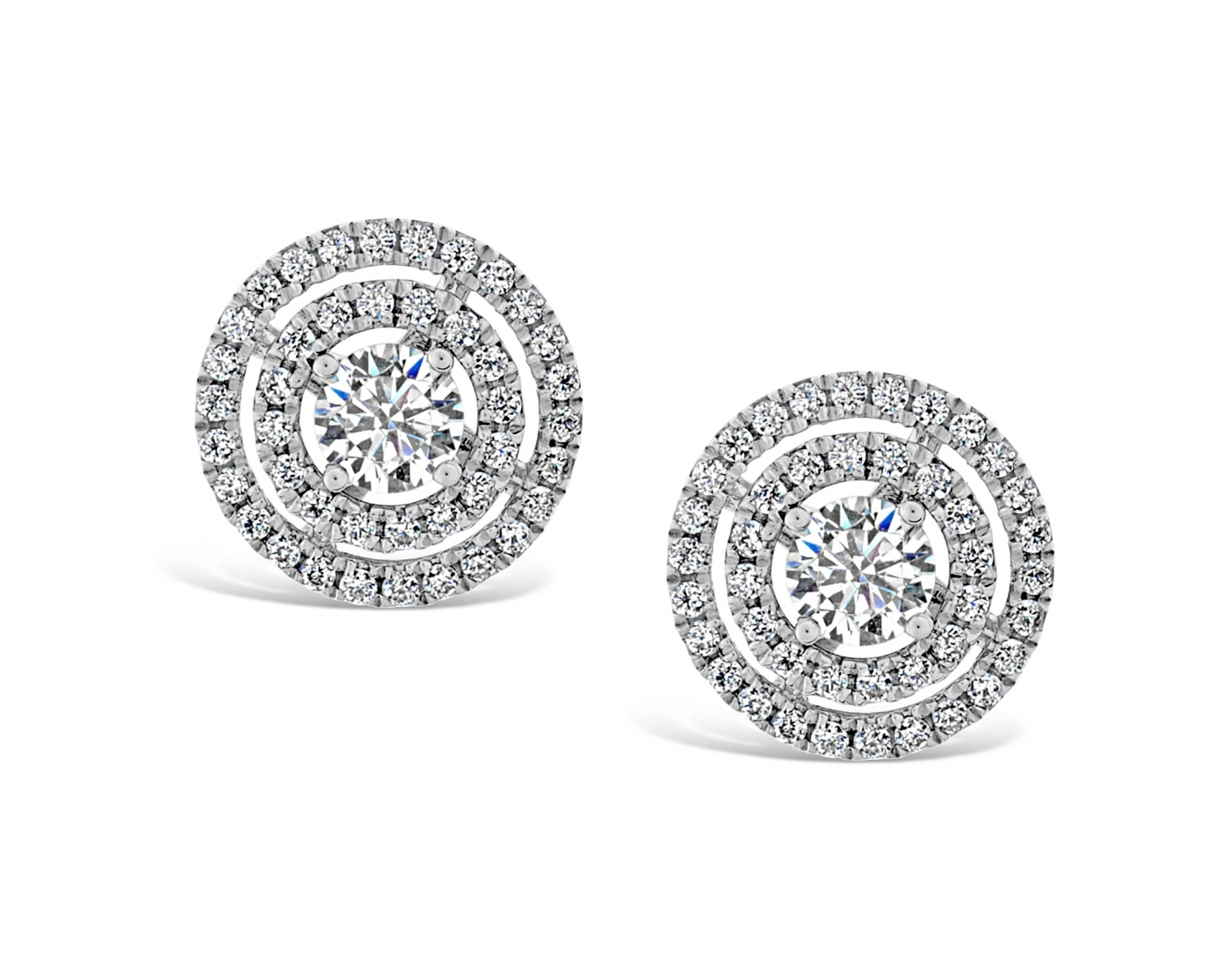 18k white gold double halo diamond earring studs Photos & images