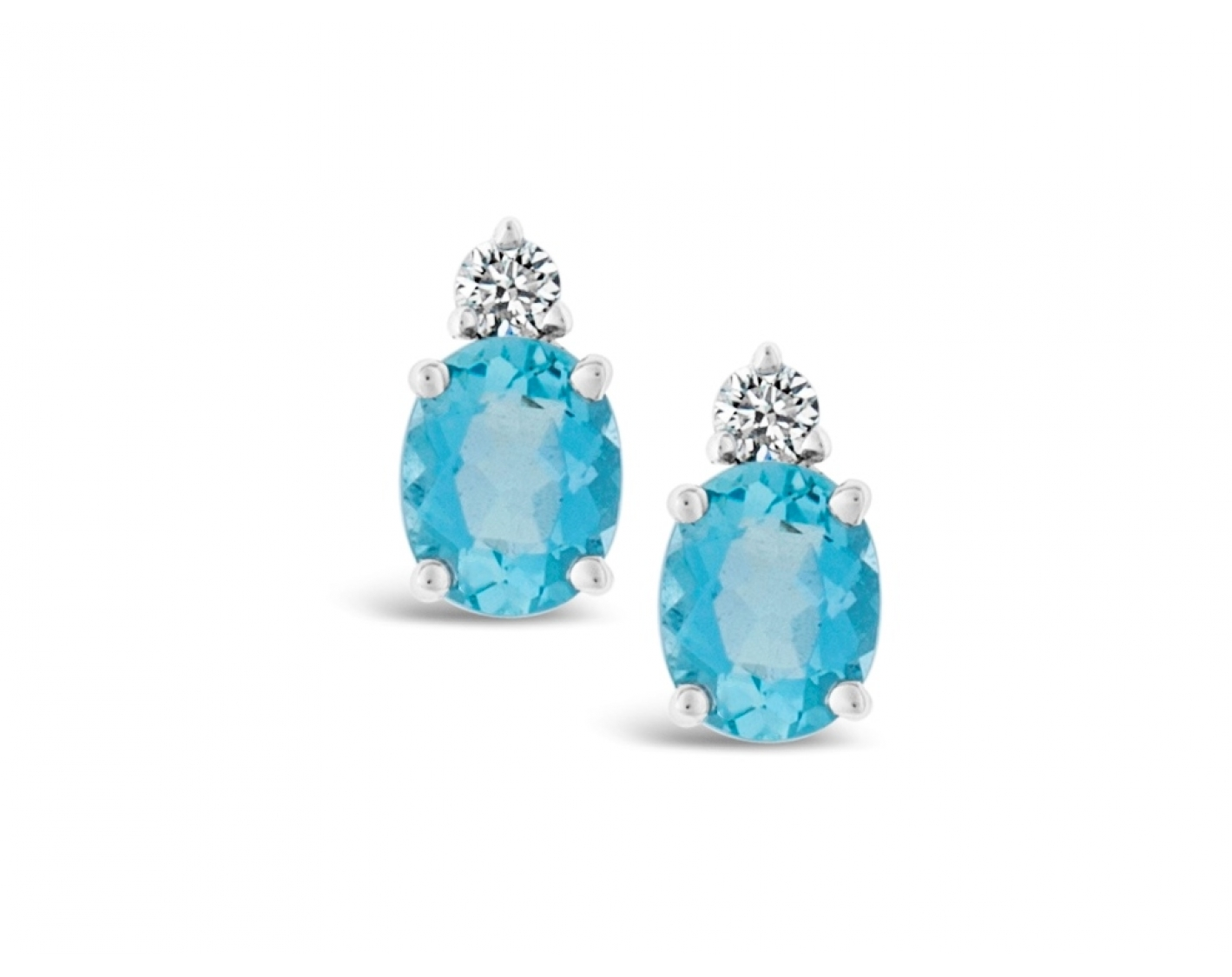 18k white gold oval cut aquamarine earrings with diamond round upstone Photos & images